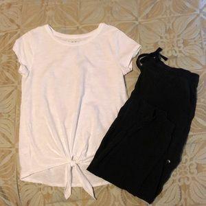 LOFT white tie waist tee shirt S